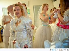 Ugly dress party (bachelorette). Find a big batch of heinous wedding dresses online for cheap and then get your friends and bridesmaids together to have a Lets re-imagine these ugly dresses party! And then go out on the town in them! wedding-ideas