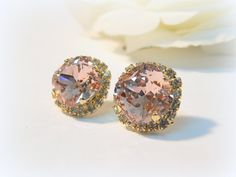 Vintage Pink & Clear crystal Swarovski post earrings by daniel12, $38.00