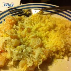 Dinner:   Creamy Coconut Shrimp with Cauliflower rice!