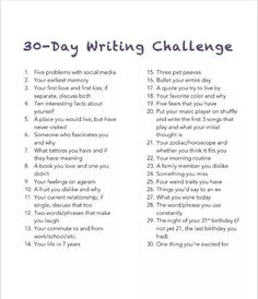 "30 Day Writing Challenge: Unedited, free-flowing thoughts on the daily topic. 30 Day Writing Challenge: Unedited, free-flowing thoughts on the daily topic. Didn't I already do this in the ""Bullet Your Day"" Challenge? I'm just going to copy and … Journal Writing Prompts, Writing Topics, Essay Topics, Poetry Prompts, Journal Topics, Essay Prompts, Essay Writing, High School Writing Prompts, Diary Writing"