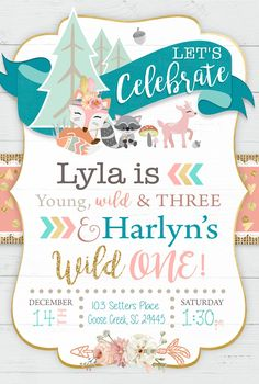 Young Wild and Three Joint Woodland Birthday Invitations - Printable Wild One Tribal Invitation - Tribal Fox invitations Young Wild and Three Joint Woodland Birthday Invitations - Printable Wild One Tribal Invitation - Tribal Fox Combined Birthday Parties, Sibling Birthday Parties, Third Birthday Girl, Joint Birthday Parties, Wild One Birthday Party, Girl Birthday Themes, Printable Birthday Invitations, Birthday Ideas, Birthday Banners
