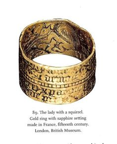 15th century; gold engraved ring in the London Museum