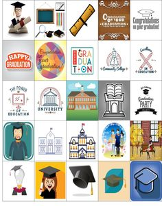Free Printable-25 University Stickers For Your Happy Planner or Erin Condren Planner