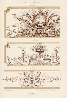 The Prints Collector :: Antique Print-DECORATION-ORNAMENT-LOUIS XIV STYLE-DETAILS-PLATE 15-Gruz-1860