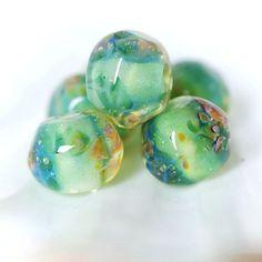 Lampwork boro glass bead set (6), borosilicate bead, mint, green, blue, pearly green, yellow. SRA