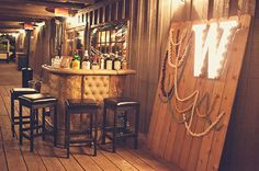 área de bar, decoração corda