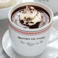 French Hot Chocolate- an easy, dark hot chocolate that tastes just like the kind served in Paris cafes!