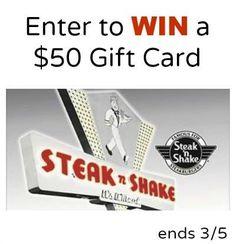 $50 Steak n Shake Gift Card Giveaway {US} (3/5/17) via... sweepstakes IFTTT reddit giveaways freebies contests