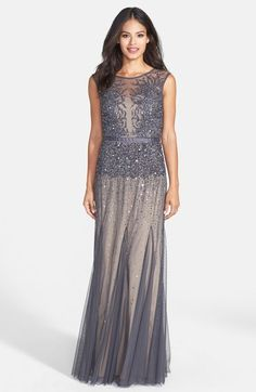 Adrianna Papell Beaded Chiffon Gown (Regular & Petite) available at #Nordstrom