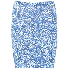 Boohoo Bethany Blue Tile Print Bodycon Mini Skirt (£6.45) ❤ liked on Polyvore