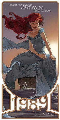 Art Nouveau Disney Fan Art by Lett Disney Magic, Ariel Disney, Disney Dream, Walt Disney, Disney Little Mermaids, Ariel The Little Mermaid, Disney Girls, Disney Love, Goth Disney