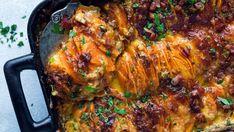Søtpotetgrateng: Fløtegratinert søtpotet Lunches And Dinners, Veggie Dinners, Frisk, Tandoori Chicken, Cheddar, Food And Drink, Easy Meals, Pork, Veggies