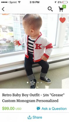 Cutest greaser outfit. I love the classic look for kids instead of all the character nonsense