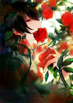 ) Anime boy with Roses Anime Love, Dark Anime Guys, Cool Anime Guys, Handsome Anime Guys, Hot Anime Boy, Anime Art Girl, Anime Girls, Fanarts Anime, Anime Chibi