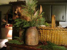 Prim Christmas Blessings...old crock, prim mustard basket, & pine...