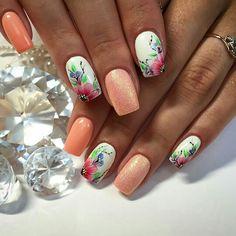 Soft Nails, Pastel Nails, My Nails, Spring Nails, Summer Nails, Acrylic Nail Designs, Acrylic Nails, Purple Nail Art, Flower Nails