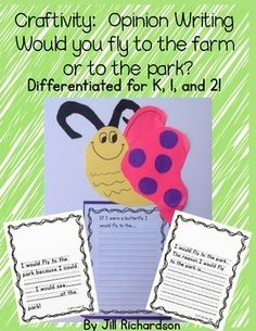 Craftivity: Spring Butterfly Opinion Writing