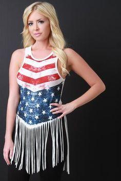 047e9cdea3 American Flag Print Fringe Hem Sleeveless Top Patriotic Costumes