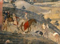 Ambrogio Lorenzetti - Gli Effetti del Buono Governo nel contado, dettaglio - affresco - 1338-1339 - Siena - Palazzo Pubblico, Sala dei Nove o Sala della Pace