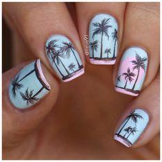 54 Tropical Nail Art Designs For Summer Tropical Nail Designs, Tropical Nail Art, Beach Nail Designs, Colorful Nail Designs, Acrylic Nail Designs, Nail Art Designs, Colorful Nails, Nails Design, Acrylic Nails