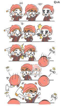 Exo Cartoon, Sad Comics, Exo Group, Exo Fan Art, Dibujos Cute, Exo Do, Exo Memes, Bts And Exo, Kaisoo