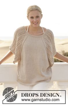 This top pairs beautifully with classic khaki shorts, woven sandals, and a pretty tote. Free pattern by #garnstudio #knitting #ss2014