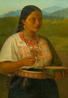 """""""Retrato de una Mujer de la Sierra de Orizaba"""" José Justo Montiel. s.XIX. Colección Universidad Veracruzana en el museo de Arte del Estado de Veracruz."""