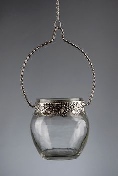 """Silver and Glass 3"""" Hanging Candle Holders $5 each / 6 for $4 each"""