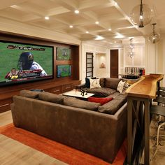 Attractive Media Room Home Theater Furniture Seating With Bar Table Behind Couch - Home Interior Design Ideas Style At Home, Home Theaters, Behind Couch, Man Cave Basement, Basement Game Rooms, Rec Rooms, Cozy Basement, Rustic Basement, Walkout Basement