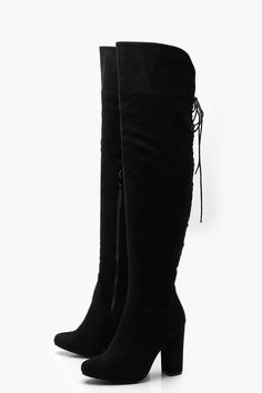 Womens Lace Back Block Heel Over The Knee Boots - black - 5 Knee High Heels, Black High Heels, High Heeled Ankle Boots, Black 7, Black Heel Boots, Shoe Boots, Boots With Heels, Black Thigh High Boots, Thigh High Boots Outfit