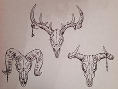 Biro drawings Sheep skull Cow skull Deer skull