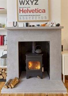 Beautiful mantle, hearth and surround made from GFRC for a family home. Fire Surround, Concrete Design, Brick Fireplace, Mantle, Home And Family, Hearths, Home Appliances, Cool Stuff, Wood