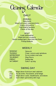 morning and night cleaning schedule