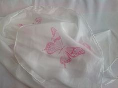 Hand Painted Silk Scarf pink butterflies  £15.00