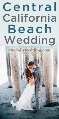 Love her dress and her seashell headband!! View the full wedding here: http://thedailywedding.com/2015/12/02/central-california-beach-wedding-cerra-jonathan/