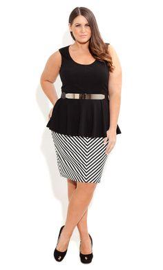 City Chic - PONTE STRIPE PENCIL SKIRT - Women's plus size fahsion