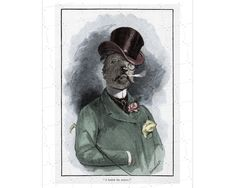 An English whimsical dog engraving from 19th century Hand coloured Vintage sporting dog in top hat and tails