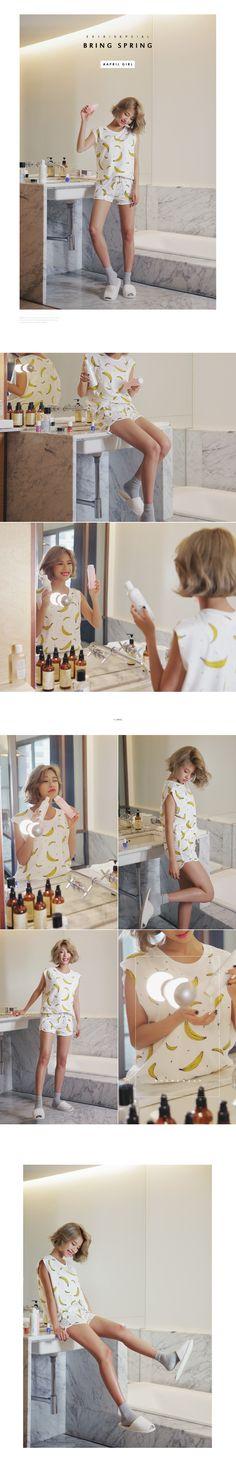 バナナプリントスリーブレス&ショーツSET・全3色