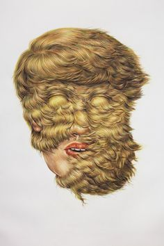Hair Illustrations by Winnie Truong – view more (hairy) images @ http://www.juxtapoz.com/Current/hair-illustrations-by-winnie-truong# – #onourradar #hair #portraits