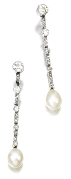 Natural pearl and diamond pendant earrings, circa 1910. Via Sotheby's.