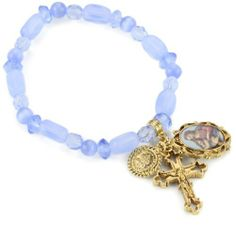 """The Vatican Library Collection Blue Beaded Gold-Tone Charm Bracelet The Vatican Library Collection. $35.00. Measures: 6 1/2""""L x 1/8""""W"""