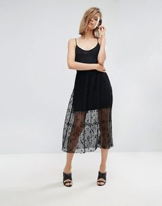 Mango Star and Mesh Pleated Cami Dress in black at Asos