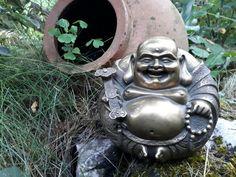 VINTAGE Buddhism Happy laugh Maitreya Buddha Rohan monk Bronze Statue