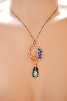 Copper Wire Wrapped Spiral Swarovski Pendant, Hammer Copper Jewelry Necklace, Swarovski Pendant, Swirl Pendant, Swarovski Jewelry, Wire Weav. $37.40, via Etsy.