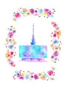 Provo, Utah LDS Temple watercolor print