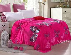 "King's deal- Tm Bed Blanket:91""x 79 "" Super Soft Warm Air Conditioning Throw Blanket for Bedroom Living Rooms Sofa,oversized Travel Throw Cover(pink-butterfly)"