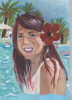 A4 Self Portrait in Acrylic for my FMP 2015 - Holiday in Tunisia 2011