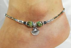 Anklet Ankle Bracelet Sea Shell Charm Semi by ABeadApartJewelry, $15.00
