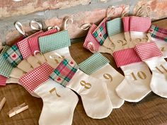 Mini Stocking Christmas Advent Calendar  - Traditional colours Cottage Style