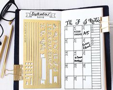 Brushed brass metal stencil for your planner or journaling. Material: ------- 0.3mm Brass Size:---------------4 x 7 Fits: Midori Regular Travelers Notebook A5 Organizer/Notebook INTERNATIONAL SHIPPING: * Airmail with tracking * Delivery time: Approx. 7 -21 days * Combine shipping: please add the items to your shopping cart to check the shipping fee.